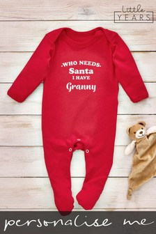 Personalised Who Needs Santa Sleepsuit by Little Years