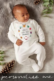 Personalised Christmas Icons Sleepsuit by Little Years