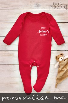 Personalised First Christmas Sleepsuit by Little Years