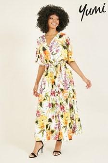 Yumi Tropical Printed Pleated Sebrina Skirt Dress