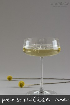 Personalised Script Name Champagne Coupe Glass