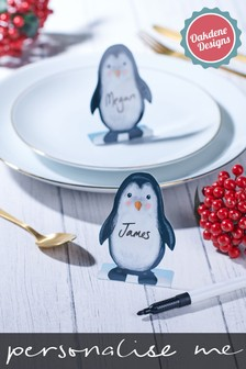 Personalised Set of Penguin Place Settings by Oakdene Designs