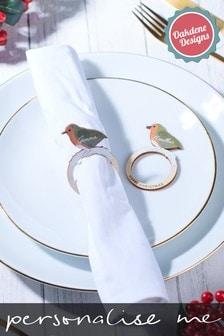 Personalised Robin Napkin Holders X4 by Oakdene Designs