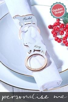 Personalised Polar Bear Napkin Holders X4 by Oakdene Designs