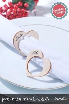 Personalised Heart Napkin Holders X4 by Oakdene Designs