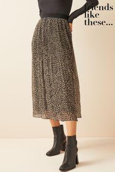 Friends Like These Pleated Midi Skirt