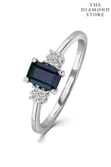 The Diamond Store Sapphire 6 x 4mm And Diamond 9K White Gold Ring