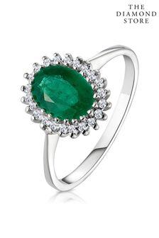 The Diamond Store Emerald 8 x 6mm And Diamond 9K White Gold Ring