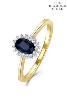 The Diamond Store Sapphire 6 x 4mm And Diamond 9K Gold Ring