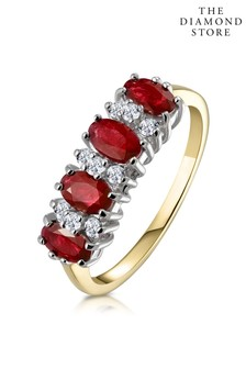 The Diamond Store Ruby 1.12ct And Diamond 9K Gold Ring