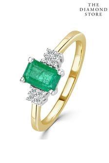The Diamond Store Emerald 0.65ct And Diamond 9K Gold Ring