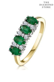 The Diamond Store Emerald 0.94ct And Diamond 9K Gold Ring