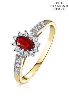 The Diamond Store Ruby 5 x 3mm And Diamond 9K Gold Ring