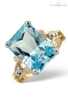 The Diamond Store Blue Topaz 9.35CT 9K Yellow Gold Ring
