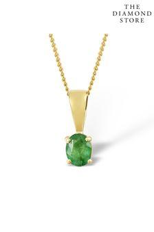 The Diamond Store Emerald 0.33CT 9K Yellow Gold Pendant Necklace