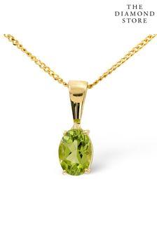 The Diamond Store Peridot 7 x 5mm 9K Yellow Gold Pendant Necklace