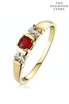The Diamond Store Ruby 3.75mm And Diamond 9K Gold Ring