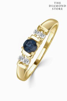 The Diamond Store Kanchan Sapphire 3.75mm And Diamond 9K Gold Ring