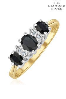 The Diamond Store Sapphire 1.00ct And Diamond 9K Gold Ring