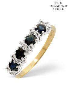 The Diamond Store Sapphire 0.85ct And Diamond 9K Gold Ring