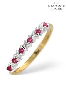 The Diamond Store Ruby 0.16ct And Diamond 9K Gold Ring