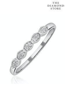 The Diamond Store Half Eternity Ring 0.02CT Diamond 9K White Gold