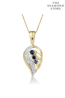 The Diamond Store Sapphire 9 x 14 mm And Diamond 9K Yellow Gold Pendant Necklace