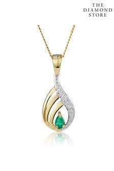 The Diamond Store Emerald 4 x 3mm And Diamond 9K Yellow Gold Pendant Necklace