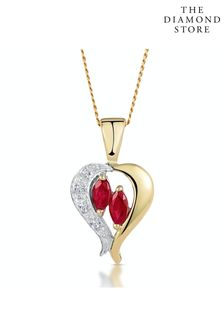 The Diamond Store Ruby 5 x 3mm And Diamond 9K Yellow Gold Pendant Necklace