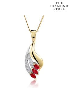 The Diamond Store Ruby 4 x 2mm And Diamond 9K Yellow Gold Pendant Necklace
