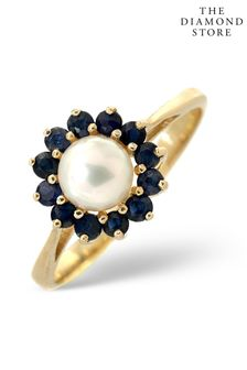 The Diamond Store Pearl And Sapphire 9K Gold Ring