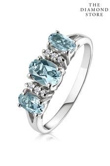 The Diamond Store Aquamarine 0.80CT And Diamond 9K White Gold Ring
