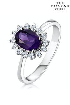 The Diamond Store Amethyst 0.70ct And Diamond 9K White Gold Ring