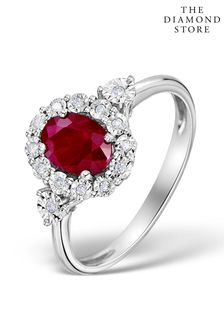 The Diamond Store Ruby 7 x 5mm and Diamond 9K White Gold Ring