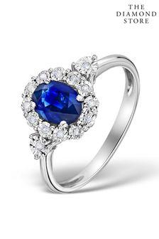 The Diamond Store Sapphire 7 x 5mm and Diamond 9K White Gold Ring