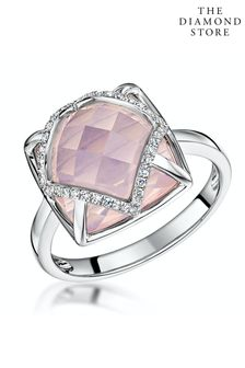 The Diamond Store Stellato Collection Rose Quartz and Diamond Ring 9K White Gold