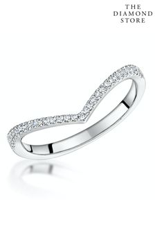 The Diamond Store Stellato Collection Diamond Wishbone Ring 0.12ct in 9K White Gold