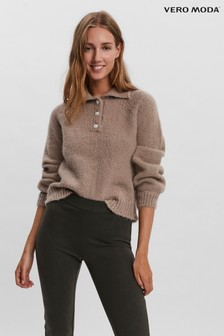 Vero Moda Polo Jumper with Embellished Buttons