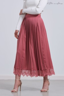 Little Mistress Satin Pleated Skirt With Lace Hem Skirt