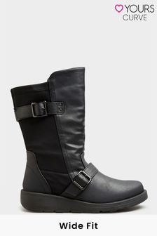 Yours Extra-Wide Fit Low Wedge Buckle Boot