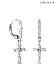 Jon Richard Rhodium Plate Cubic Zirconia Cross Earrings