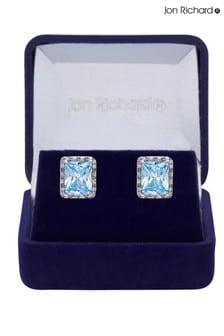 Jon Richard Rhodium Plated Cubic Zirconia Aqua Earrings