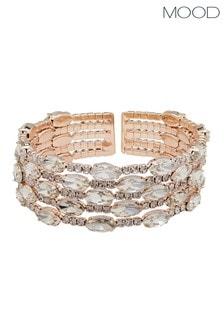 Mood Rose Gold Plated Diamante Multi Row Cuff Bracelet