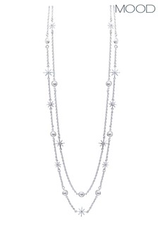 Mood Silver Plated Double Row Crystal Celestial Necklace