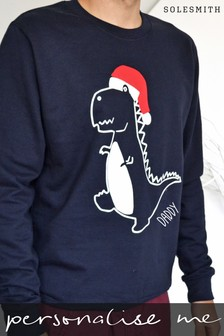 Personalised Adults Dinosaur Christmas Jumper by Solesmith
