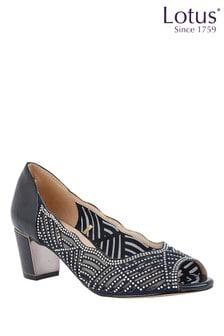 Lotus Footwear Navy and Diamante Peep-Toe Shoes