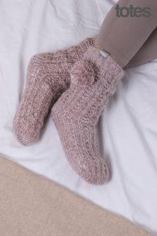 Totes Ladies Luxury Sparkle Slippers Sock with Pom Pom