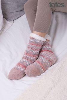 Totes Ladies Fair Isle Slippers Socks