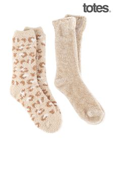 Totes Ladies Twin Pack Recycled Chenille Supersoft Bed Socks