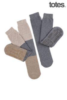 Totes Ladies Twin Pack Original Slippers Socks
